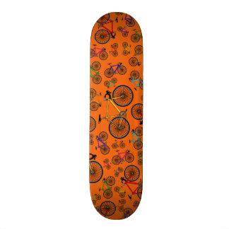 Orange road bikes skateboard