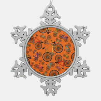 Orange road bikes snowflake pewter christmas ornament