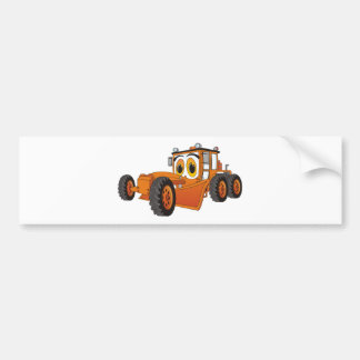 Orange Road Grader Cartoon Bumper Sticker
