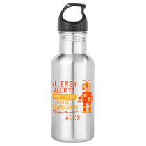 Orange Robot Allergy Alert Water Bottle