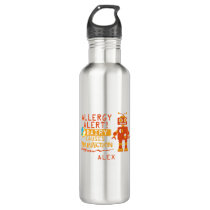 Orange Robot Dairy Allergy Alert Water Bottle