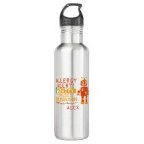 Orange Robot Dairy Allergy Alert Water Bottle