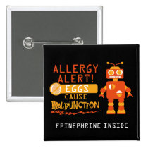 Orange Robot Egg Allergy Alert Personalized Button