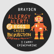 Orange Robot Egg Allergy Alert Personalized Classic Round Sticker