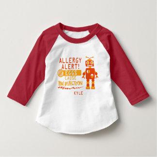 Orange Robot Egg Allergy Alert Warning Tee Shirt