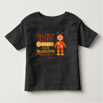 Orange Robot Egg Allergy Alert Warning Toddler T-shirt