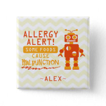 Orange Robot Food Allergy Alert Button