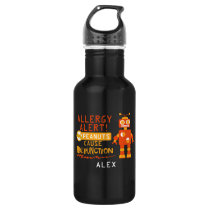 Orange Robot Peanut Allergy Alert Personalized Boy Stainless Steel Water Bottle