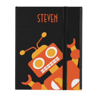 Orange Robot Personalized Fun Kids Silly Cool iPad Covers