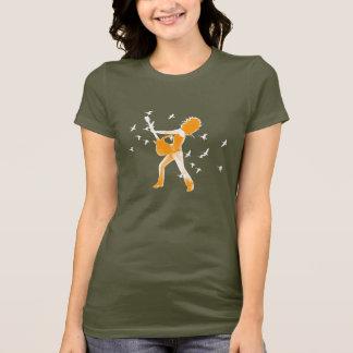Orange Rock Girl and Birds T-Shirt