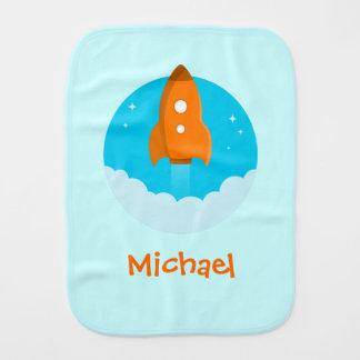 Orange Rocketship Baby Burp Cloths