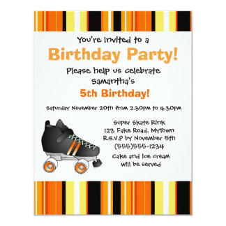 Orange Roller Skate Birthday Party - Orange Stripe Card