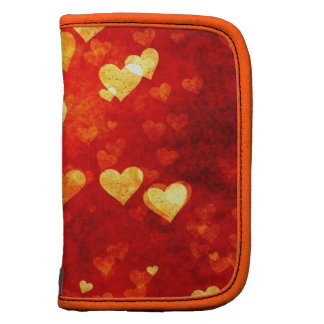 Orange Romantic Love Hearts Arty School Planner