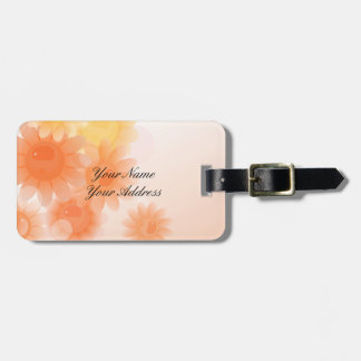 Orange romantic vintage flowers luggage tag