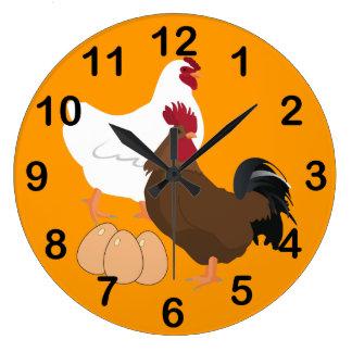 Orange Rooster Chicken Eggs Round Wall Clock