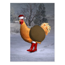 Orange Rooster Santa Claus Postcard
