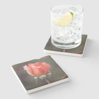 Orange Rose After the Rain Stone Beverage Coaster