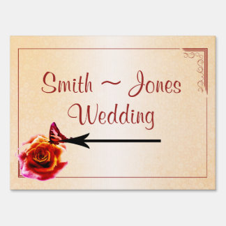 Orange Rose and Butterfly Wedding Direction Sign