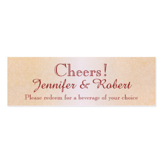 Orange Rose and Butterfly Wedding Drink Tickets Double-Sided Mini Business Cards (Pack Of 20)