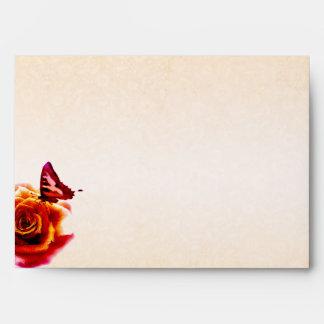 Orange Rose and Butterfly Wedding Envelope