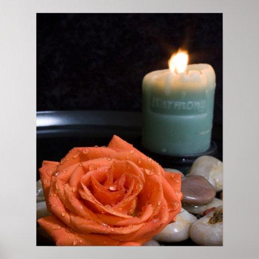 Orange Rose and Harmony Candle Print