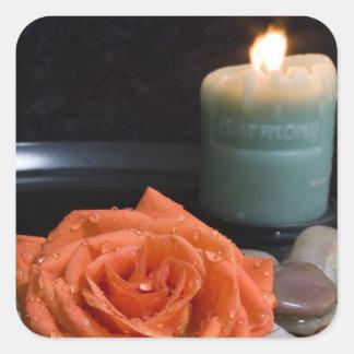 Orange Rose and Harmony Candle Square Sticker