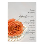 "Orange Rose and Pearl Quinceanera Party Invitation 5"" X 7"" Invitation Card"