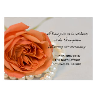 Orange Rose and Pearls Wedding Reception Card