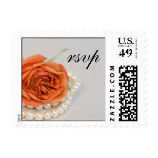 Orange Rose and Pearls Wedding RSVP Postage Stamp