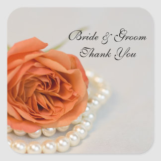 Orange Rose and Pearls Wedding Thank You Favor Tag Square Sticker