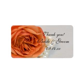 Orange Rose and Pearls Wedding Thank You Label Address Label