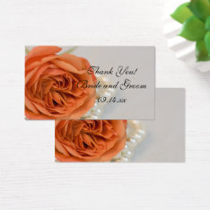 Orange Rose And White Pearls Wedding Favor Tags at Zazzle