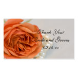 Orange Rose and White Pearls Wedding Favor Tags Business Card
