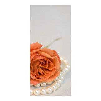 Orange Rose and White Pearls Wedding Program