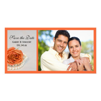 Orange Rose and White Pearls Wedding Save the Date Card