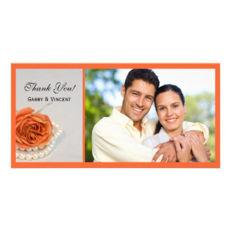 Orange Rose and White Pearls Wedding Thank You Card