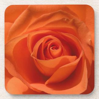 Orange Rose Blossom Detail Square Cork Coaster