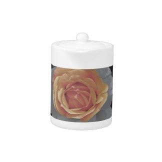 Orange rose blossoms print teapot