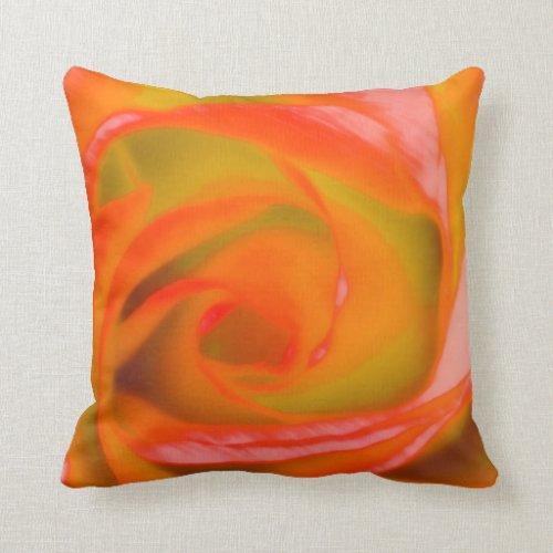 Orange Rose Close-up Throw Pillow