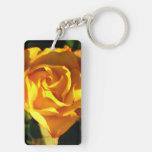 Orange rose Double-Sided rectangular acrylic keychain