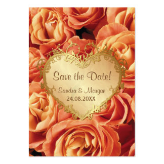 Orange Rose Floral Wedding Save the Date Large Business Card