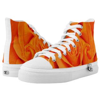 Orange rose flower  rockabilly hightop shoes