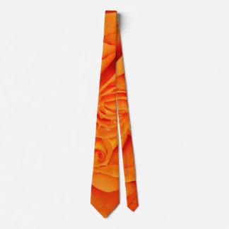 Orange rose flower  rockabilly neck tie