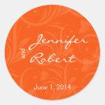 Orange Rose Graphic Wedding Envelope Seal Classic Round Sticker