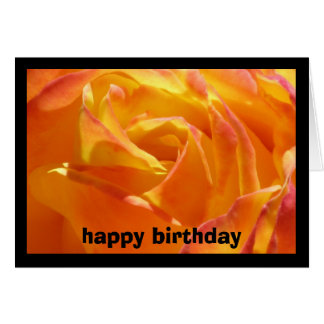 Orange Rose Happy Birthday Card