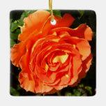 Orange Rose I Pretty Floral Ceramic Ornament