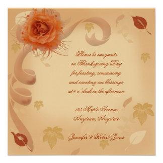 Orange Rose in the Fall Invitation