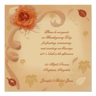 """Orange Rose in the Fall Invitation 5.25"""" Square Invitation Card"""