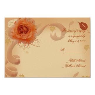 Orange Rose in the Fall Response card Custom Announcements