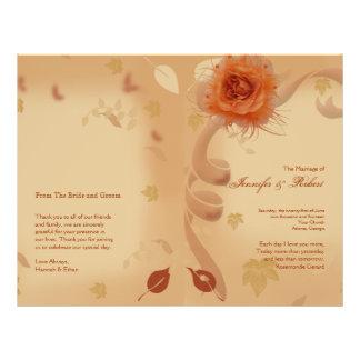 Orange Rose in the Fall Wedding Program Flyer Design